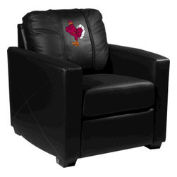 Dreamseat Inc. - Virginia Tech NCAA Hokiebird Xcalibur Leather Arm Chair - Check out this incredible Arm Chair. It's the ultimate in modern styled home leather furniture, and it's one of the coolest things we've ever seen. This is unbelievably comfortable - once you're in it, you won't want to get up. Features a zip-in-zip-out logo panel embroidered with 70,000 stitches. Converts from a solid color to custom-logo furniture in seconds - perfect for a shared or multi-purpose room. Root for several teams? Simply swap the panels out when the seasons change. This is a true statement piece that is perfect for your Man Cave, Game Room, basement or garage.