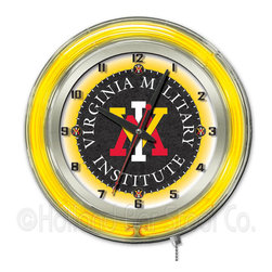 Holland Bar Stool - Holland Bar Stool Clk19VAMilI Virginia Military Institute 19 Inch Neon Clock - Clk19VAMilI Virginia Military Institute 19 Inch Neon Clock belongs to College Collection by Holland Bar Stool Our neon-accented Logo Clocks are the perfect way to show your school pride. Chrome casing and a team specific neon ring accent a custom printed clock face, lit up by an brilliant white, inner neon ring. Neon ring is easily turned on and off with a pull chain on the bottom of the clock, saving you the hassle of plugging it in and unplugging it. Accurate quartz movement is powered by a single, AA battery (not included). Whether purchasing as a gift for a recent grad, sports superfan, or for yourself, you can take satisfaction knowing you're buying a clock that is proudly made by the Holland Bar Stool Company, Holland, MI. Clock (1)
