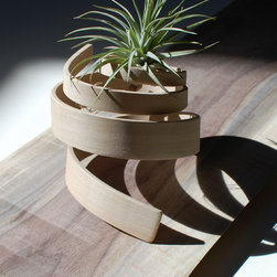 "Small Hand Bent Wood Ideas - Solid wood bend with split ""fork"" to hold the plant."