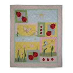 Patch Magic - Ladybug Throw - 50 in. W x 60 in. L. 100% Cotton. Handmade, hand quilted. Machine washable. Line or flat dry only