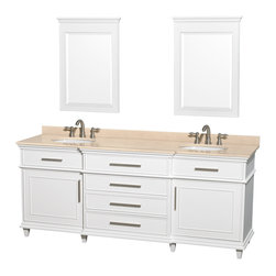 "Wyndham Collection - Wyndham Collection 80"" Berkeley White Double Vanity w/ Ivory Marble Top - If your bathroom's asking you for a facelift, the Berkeley is a worthy choice. At once elegant, classic and contemporary, the Berkeley vanity lends an air of sophistication and charm to any bathroom, from a Soho penthouse to a rustic country home. Carefully hand built to last for decades and finished in White or Dark Chestnut, this solid wood vanity is trimmed with brushed chrome hardware to compete the timeless look. Available in multiple sizes and finishes."