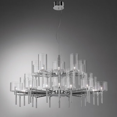 Spillray 30 Chandelier by Axo Light - Spillray 30 arms chandlier features thirty glass shades mounted on two tier polished chrome finish structure. Pyrex glass shades are blown in metal casts to create their shapes.  Shades available in crystal, grey, red and orange. Glass diffusers in two different shapes and sizes. Also available in ceiling, wall and pendant versions. Thirty 10 watt 12V G4 halogen lamps included. Transformers included. Made in Italy. General light distribution. 46.75 inch diameter x 22.5 inch height. Canopy is 7.8 inches in diameter x 3.1 inches high. Maximum overall height 98.4 inches.