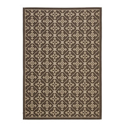 """Safavieh - Courtyard Brown Area Rug CY6564-204 - 6'7"""" x 9'6"""" - Safavieh takes classic beauty outside of the home with the launch of their Courtyard Collection. Made in Belgium with enhanced polypropylene for extra durability, these rugs are suitable for anywhere inside or outside of the house. To achieve more intricate and elaborate details in the designs, Safavieh used a specially-developed sisal weave."""
