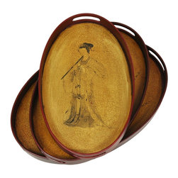 Oriental Furniture - Lady Playing Flute Tray Set (Set of Three) - Delicately crafted and hand-finished, this set of three matching trays depicts a geisha playing her musical trade. Hand-finished and antiqued.