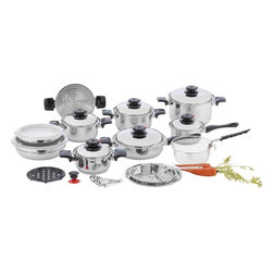 """Unknown - Chef's Secret® 28pc 12-Element T304 Stainless Steel """"Waterless"""" Cookware - This elegant cookware set is a chef's dream. The T304 stainless steel bowls can also be used as double boilers or even as dome covers for stove-top roasting. Set includes: 1.5qt saucepan with cover, 1.5qt stockpot with cover, 2qt stockpot with cover, 3qt stockpot with cover, 6qt stockpot with cover, 10-1/2"""" frypan with cover and helper handle, 2 mixing bowls with polypropylene covers, steamer and frying baskets, pan-top grater with handle and adapter ring, suction knob, trivet, and 4pc measuring spoon set. Features mirror finish exterior, satin finish interior, and Steam Control™ top knobs. Limited lifetime warranty."""