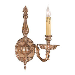 Crystorama Lighting Group - Crystorama Lighting Group 2401 Novella 1 Light Candle Style Wall Sconce - Single Light Ornate Cast Brass Wall SconceRequires 1 60w Candelabra Bulb (Not Included)