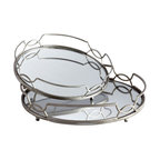Zuo - Graphic Curves Mirrored Trays, Set of 2 - The Graphic Curves Mirrored Tray Set is at once classic and contemporary.  Featuring stainless steel construction with interlocking circles along the rails, the trays feature an inset of mirror for additional glamour.  Use them for light serving pieces or for displaying choice accessories such as candles or vases.  The Graphic Curves Mirrored Tray Set features both a large and medium size tray.