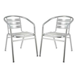 Modway - Perch Dining Chairs Set of 2 in Silver - Define your homestead and empower your space with the Perch Outdoor Accent Chair. Ascend levels with conversational partners in an effort to attain communal sustainability. Valued measures of expression generate a protected place to prosper.