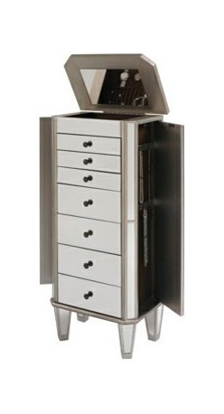 """Powell - Mirrored Jewelry Armoire With Silver Wood Finish - Mirrored Jewelry Armoire with Silver wood finish.  This modern jewelry armoire provides ample safe storage space for all of your bits and baubles. The top opens to reveal a mirror to help you adorn yourself! Finished in a bold silver and accented with mirror, this piece is both eyecatching and fun. Some assembly required.  Jewelry Armoire measures:  18"""" x 12"""" x 40-1/2"""" tall.  Material Content: MDF, rubberwood, mirror, Rayon lining"""