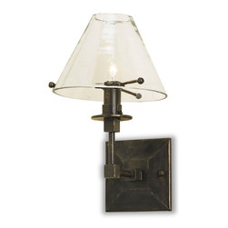 Kathy Kuo Home - Fehlbaum Industrial Loft Style Clear Glass Shade Black Iron Sconce - With a clear glass shade and sturdy wrought iron base, this weather-resistant rustic style sconce holds a bright beacon, welcoming your guests. The certified glass holds a candelabra bulb to light an entryway, porch or portico.