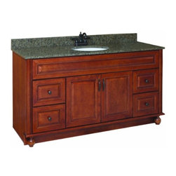 """DHI-Corp - Montclair Chestnut Glaze Vanity Cabinet with 2-Doors and 4-Drawers, 60"""" by 21"""" - The Design House 538579 Montclair Chestnut Glaze Vanity Cabinet is made of solid wood door and drawer frames and finished in a chestnut glaze with a water resistant coat. This product features oil rubbed bronze hardware, particle board side panels and concealed hinges. Add an additional shelf inside this cabinet for even more storage. Measuring 33.5-inches by 21-inches by 60-inches, this vanity fits in a medium sized bathroom while providing ample storage space. With its ball bearings, the full extension drawer glides open smoothly. This product comes pre-assembled and features a modern aesthetic that matches traditional furnishings and granite tops. Vanity top is not included with this product. The Design House 538579 Montclair Chestnut Glaze Vanity Cabinet has a 1-year limited warranty that protects against defects in materials and workmanship. Design House offers products in multiple home decor categories including lighting, ceiling fans, hardware and plumbing products. With years of hands-on experience, Design House understands every aspect of the home decor industry, and devotes itself to providing quality products across the home decor spectrum. Providing value to their customers, Design House uses industry leading merchandising solutions and innovative programs. Design House is committed to providing high quality products for your home improvement projects."""