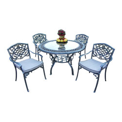 """Oakland Living - Oakland Living Mississippi 48"""" Glass Top 5-Piece Dining Set with Cushions - Oakland Living - Patio Dining Sets - 201621209AP - About This Product:"""