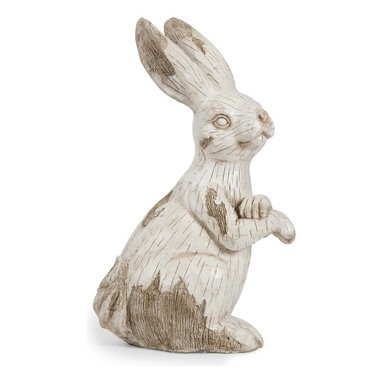 iMax - iMax Singleton Garden Bunny - This happy, hoppy friend is perfect for adding character inside or out! with the look of aged, carved, white washed wood, this cotton tailed character works great as a door stop, a garden decoration, or a decorative room accent in an enclosed patio.