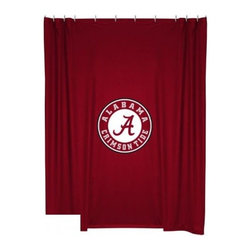 Sports Coverage - Alabama Crimson Tide Shower Curtain - This 72 x 72 officially licensed Alabama University Crimson Tide shower curtain of jersey material with logo is perfect for any bathroom in need of a little extra team spirit. It weighs approximately one pound and is screen printed with Plastisol. Shower Curtain is 100% Polyester Jersey