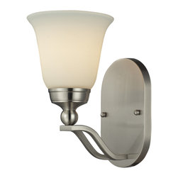 Elk Lighting - Sullivan 1-Light Sconce in Brushed Nickel - Gently curving double arms arch towards stylish, flared shaped opal white glass. The qualities of the opal glass provide a pleasantly diffused light for daily use as well as for special occasions.�A brushed nickel finish provides versatility to coordinate with a host of room settings.