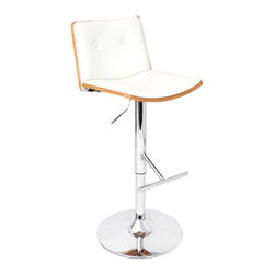 "Lumisource - Lustra Barstool Zebra + White - The elegant design of the Lustra Barstool will add sophistication to your home.The leatherette seat and backrest, beautiful bent wood accents, as well as a polished chrome finish on the footrest and base complete the look. With the added feature of hydraulic lift to adjust the seat height and 360 degree swivel, you may never want to get up!  Seat height adjusts from 27.5"" to 32.5"" ** Note: Due to the natural variation in wood, color may vary slightly**"