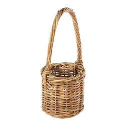 Eco Displayware - Small Wine Bottle Rattan Basket in Natural - Great for closet, bath, pantry, office or toy and game storage. Earth friendly. 6 in. Dia. x 6 in. H (0.78 lb.)These natural colored baskets add warmth and charm and keep you organized.