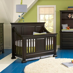 Nottingham Crib in Espresso - • The Nottingham crib is a solid panel headboard crib that converts to a Toddler bed, a Full bed or Queen bed!