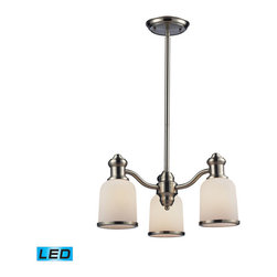 Landmark Lighting - Landmark Lighting Brooksdale 66162-3-LED 3-Light Chandelier in Satin Nickel - LE - 66162-3-LED 3-Light Chandelier in Satin Nickel - LED - 800 Lumens belongs to Brooksdale Collection by Landmark Lighting Blending Vintage Design Elements With Today��_��_��_��_��_��_S Casual Living, The Brooksdale Collection��_��_��_��_��_��_S Functional Beauty Allows For Use In A Variety Of Decors. Choose The Finish That Best Reflects Your Style; Polished Chrome, Satin Nickel, Or Antique Copper With White Glass Or OiLED Bronze With Amber Glass. - LED, 800 Lumens (2400 Lumens Total) With Full Scale Dimming Range, 60 Watt (180 Watt Total)Equivalent , 120V Replaceable LED Bulb Included Chandelier (1)