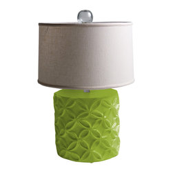 "Stray Dog Designs - Stray Dog Designs Katie Douglas Fir Table Lamp - Eco-friendly with a feminine touch, the Katie lamp's geometric flowers in relief are offset by its white linen shade. This chunky table lamp in bright Douglas Fir green adds a pop of color to a living room or bedroom. 18"" Dia. x 28""H; Papier-mache; White linen drum shade; Glass finial; Handcrafted by artisans from recycled materials; Finished with low VOC paint; Accepts 75W bulb (not included)"