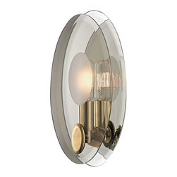 Hudson Valley Lighting - Hudson Valley Lighting Galway Modern / Contemporary Wall Sconce X-BGA-1175 - An elegant study in doubles, Galway draws inspiration from Italy's modern glass masters. Within the oval outline of a beveled mirror backplate, we mounted a matched smoke glass diffuser and set between them a lively tungsten filament lamp. Thoughtfully paired details, such as the diffuser's oval etching and metal clasp, extend the design motif.
