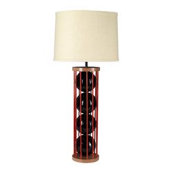 """Stephanie Nichols Studio - Steel 12 Table Lamp, Black with Copper Orange Rods - The Steel 12 Table Lamp is a mahogany and powder coated steel frame with brilliantly glazed ceramic spheres.  The lamp is fitted with a dark bronze 3 way rotary turn knob, all parts UL approved. It is rated a maximum 250w/250v. However we recommend using a 3 way bulb or single 60w (bulb not included). Comes with a hardback linen shade. Shade size: top 14"""" x 16"""" bottom x 10"""" tall. Product is made to order which can result in longer lead times."""