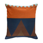 Nine Space - Savanna Pillow Cover, Orange/Blue Multi - Liven up your living space with this geometrically pleasing pillow cover. It offers a modern take on a traditional tribal pattern, one that will add a bold shot of color and pattern wherever you prop it.