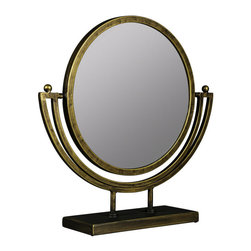 Cooper Classics - Cooper Classics Ketill 16 Inch Round Table Mirror in Bronze and Black - The Ketill Table Mirror adds glamour and elegance to the room. Perfect for any vanity table in a dressing room, bathroom or bedroom; the bronze finish with black highlights will complement any motif.