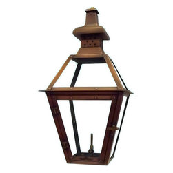"""Primo Lanterns - Primo Lanterns PL-20 St. Charles 23"""" Outdoor Wall-Mounted Lantern in Natural Gas - Primo Lanterns PL-20 St. Charles 23"""" Outdoor Wall-Mounted Lantern in Natural Gas Configuration, with ValveAdd Southern Charm and character to any outdoor area with a gas burning wall lantern from Primo Lanterns. Hand made from pure copper, these lanterns are antique-finished and clear-coated for a breathtaking appearance. The dancing pecan leaf flame will captivate with its splendor, and its warm glow will offer relaxing illumination wherever this lantern is located.Primo Lanterns PL-20 Features:"""