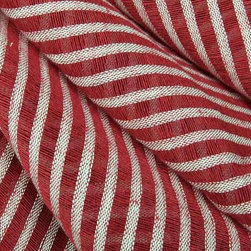Striscia Sheer Stripe Drapery Fabric in Red - Striscia Sheer Stripe Drapery Fabric in Red is a brightly hued drapery fabric with a small scale stripe pattern. Ideal for window treatments or canopies, this contemporary fabric has a great quality and price! Made from a blend of 80% linen and 20% cotton. Passes 3,000 double rubs. Cleaning code: S. Width: 59″