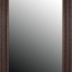 Second Look Mirror - 37x47 Copper Embossed Bronze Mirror - This 3.5-inch moulding has a rich leather copper look that is set off by its stylish cracked bright bronze border. Vertical hanging hardware included for an easy to hang installation.