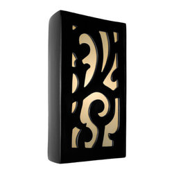 A19 - Cathedral Wall Sconce Black Gloss and White Frost - The Cathedral Wall Sconce evokes a sense of classic grandeur with its beautifully colored pane of glass framed by a ceramic wrought iron pattern. Rectangular fixture with gently curving sides. Light shines through openings at the top, the bottom and naturally illuminates the unique design of the glass. Handmade to A19's exacting standards, using a kiln-fired ceramic base and recycled window glass from local sources.