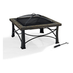 Crosley - Firestone Square Slate Firepit in Black - Dimensions:  32 x 32 x 7 inches