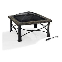 Crosley - Firestone Square Slate Firepit in Black - Dimensions:  32 x 32 x 7 inches