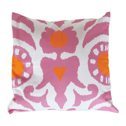 "Pink Agra 22"" Pillow - Printed Cotton, 10/90 Down Insert"