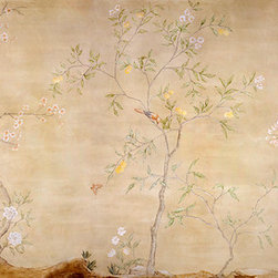 Tea Paper Chinoiserie - This 26'x8' Chinoiserie mural was hand painted by Lena Fransioli and Brooke Sheldon.  It is now available in the highest quality reproduction archival giclée wallpaper.