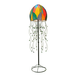 "Lamps Plus - Asian Eangee Jellyfish Multicolor Cocoa Leaves 64"" High Floor Lamp - The distinctive shade of this floor lamp is made of cocoa leaves that have been put through a labor-intensive process of fossilization. The leaves are then stained in organic dyes and sealed. The design is accented by wrought iron ""tentacles"" with glass bead tips. Powder coat finish. Wrought iron frame. Fossilized cocoa leaf shade. Takes one 40 watt bulb (not included). On-off foot switch. 15"" wide. 64"" high.  Powder coat finish.   Wrought iron frame.   Fossilized cocoa leaf shade.   Takes one 40 watt bulb (not included).   On-off foot switch.   15"" wide.   64"" high."