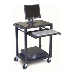 H. Wilson - Mobile Computer Workstation in Black - Includes 3-outlet UL listed electrical assembly with 15 ft. cord. 4 in. full swivel ball bearing casters. Two casters with locking brake. Chip, warp, rust or peel resistant. 0.25 in. safety retaining lip. Adjustable pull-out metal keyboard shelf. Inlays for top shelves create smooth work surface. Electrical assembly is recessed to pass through narrow spaces. Made from injection molded thermoplastic resin. 24 in. L x 18 in. W x 33 in. H. Warranty. Assembly Instructions