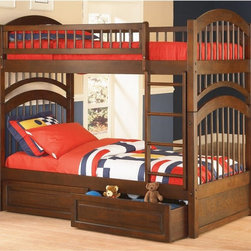 Atlantic Furniture - Windsor Twin over Twin Bunk Bed - ATF211 - Shop for Bunk Beds from Hayneedle.com! About the Windsor Twin over Twin Bunk Bed The Windsor Twin over Twin Bunk Bed is ideal for any childs bedroom. Made from solid hardwood and finished in Antique Walnut Natural Maple Caramel or White it will fit in well with any decor. It is ideal for girls or boys and the Double Arch Design is sure to stand the test of time. About Atlantic FurnitureFounded in 1983 as Watercraft Inc. Atlantic Furniture started as a manufacturer of pine waterbed frames. Since then the Springfield Mass.-based company has expanded to Fontana Calif. The company has moved away from the use of pine and now specializes in imported furniture made of the wood of rubber trees. The Benefits of Eco-Friendly RubberwoodPrized as an environmentally friendly wood rubberwood makes use of trees that have been cut down at the end of their latex-producing life cycle. The trees are removed by hand and replaced with new seedlings. In the past felled rubber trees were either burned on the spot or used as fuel for locomotive engines brick firing or latex curing. Now the wood is used in the manufacture of high-end furniture. It is valued for its dense grain stability attractive color and acceptance of different finishes. Atlantic's Unique Five-Step Finishing ProcessEach product in the entire line is finished with a high-build five-step finishing process. After a thorough sanding a wipe-on sealer is applied followed by a tinted sealer to even the grain and color of the wood. Additional sanding prepares the surface for the first base color coat more sanding and a second base color coat. After a final sanding the finish coat is applied. This process produces a beautiful and durable finish that will last for years.