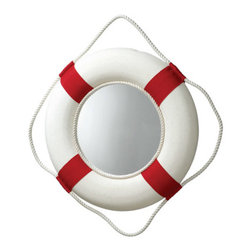 "Red/White Life Ring Mirror - The red/white life ring mirror measures 13""Dia. It has a fisherman's rope around the outside for a more authentic look and for easy hanging. It will add a definite nautical touch to wherever it is placed and is a must have for those who appreciate high quality nautical decor. It makes a great gift, impressive decoration and will be admired by all those who love the sea."