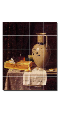 Picture-Tiles, LLC - Cigar Box Pitcher And New York Herald Tile Mural By William Harnett - * MURAL SIZE: 60x48 inch tile mural using (20) 12x12 ceramic tiles-satin finish.