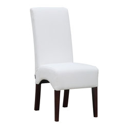 Lemoderno - Fine Mod Imports  Dinata Dining Chair, White - Enhance your dining room with this sleek and comfortable Dinata dining chair, covered in pu leather. Chair stands on sturdy wooden legs. Its simple shape gives it a neat look while it provides you with relaxed seating. Seat and Back made of PU Leather Legs are Wood