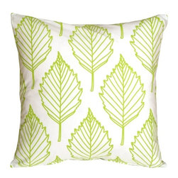 Pillow Decor - Pillow Decor - Contemporary Leaf Throw Pillow - This is a fresh contemporary throw pillow made from soft 100% cotton fabric. The front features an outline leaf pattern in lime green. The back is a solid color panel in the same lime green. With its crisp white background, this is the perfect pillow to brighten up a kitchen nook or window seat, or to add a little color on matching color bed linens.