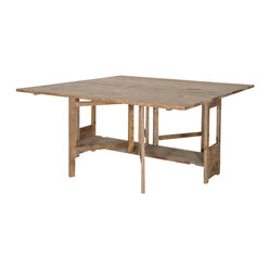 Four Hands - Gateleg Square Dining Table - Travel back in time for dinner. The gate-leg table was introduced in 16th century England, and this space-saving version can be a writing desk by day and a rustic bleached pine dining table at night.
