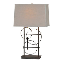 Ren-Wil - Ren-Wil LPT445 Aria Lamp - A circle design adorns the base in a rich antique bronze finish: and is topped with a grey linen shade and matching finial.