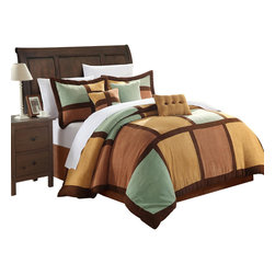 Chic Home - Diana Microsuede Green and Browns King 7 Piece Comforter Bed in a Bag Set - Ever feel the softness of microsuede fabric? it feels like soft plush suede that is so smooth you'll never want to get out of bed. This is one of our most exclusive fabrics that we have designed in this pieced colorblock bold patchwork details and even added embroidered pillows. No more cold winter nights.. this microsuede, comforter set will have you feeling so warm and cozy all winter long.