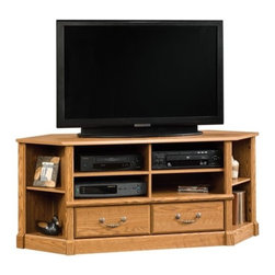 Sauder - Orchard Hills Corner Entertainment Credenza i - 2 Adjustable shelves to hold audio and video equipment. 2 Adjustable corner display shelves. Has drawers with metal runners and safety stops. Patented T-lock assembly system. Grommet hole for cord management. Made of engineered wood. Assembly required. 60 in. W x 19 in. D x 25 in. H