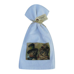 Cat Couple    Flour Sack Towel  Set of 2 - A fabulous set of 3 flour sack towels. This set features an adorable antique print of a Cat Couple.   These towels are printed in the USA by American Workers!