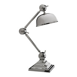 Kathy Kuo Home - Zed Modern Classic Silver Desk Table Lamp - Bring your office decor to the cutting edge of cool with this ultra-modern metallic desk lamp. This compact light has a futuristic shape and style, defined by a unique round shade and polished chrome finish. Adjust to your desired height and get down to work beneath a gorgeous gleam in your contemporary loft or Hollywood regency home office.