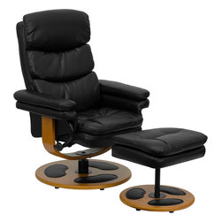 Flash Furniture - Flash Furniture Contemporary Black Leather Recliner and Ottoman with Wood Base - Recline in your favorite position with this comfortable recliner and ottoman set. This set features soft pillow top padding, thickly padded arms and wood bases with leather insets. This set is not only perfect in the home, but makes for a great addition in the office when you need to relax for a bit. The durable leather upholstery allows for easy cleaning and regular care. [BT-7828-PILLOW-GG]